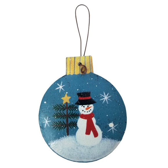Other - Round Christmas Snowman Rustic Ornament